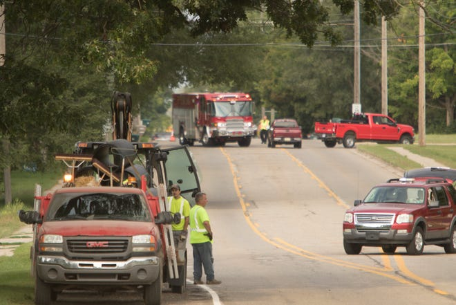 Fowlerville Fire has Grand River Avenue blocked off east of Fowlerville due to a major gas leak caused by construction near the Herrmann Funeral Home and Learn and Grow Daycare, which were among the businesses and residences evacuated Tuesday, Sept. 1, 2020.