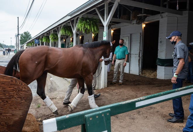 Kentucky Derby favorite Tiz the Law is lead to his stall after arriving at Churchill Downs from New York. On right is his trainer Barcley Tagg. Sept. 1, 2020