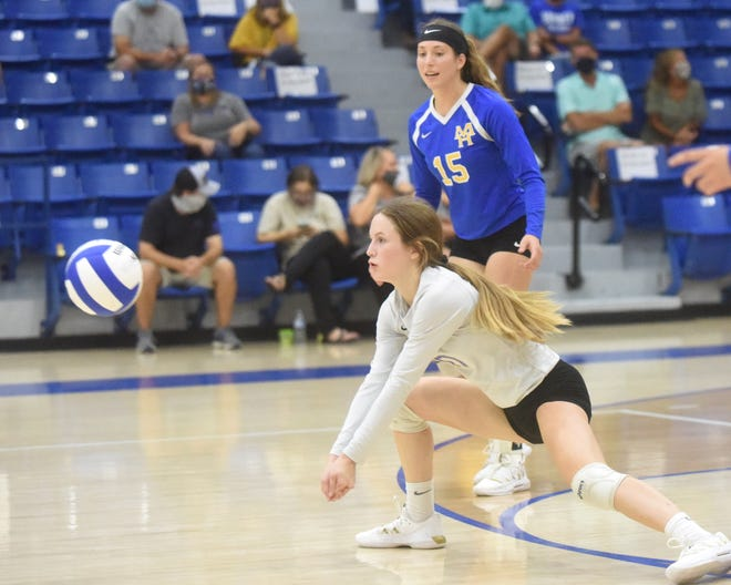 Mountain Home's Riley Schmitz is ready to pass the ball during the Lady Bombers' four-set victory over Batesville on Monday night. Also pictured is Kylee Sabella (15).