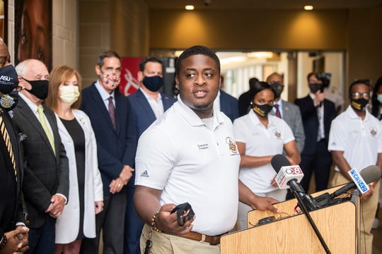 Student Government Association President David Hammond speaks during a press conference announcing new social distancing and temperature checking technology at the Hardy Student Center on Alabama State University campus in Montgomery, Ala., on Tuesday, Sept. 1, 2020.