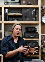 Handyman Kirk Jackson keeps most of his 220 manual typewriters in this work shed about 100 yards behind his Goodlettsville home.