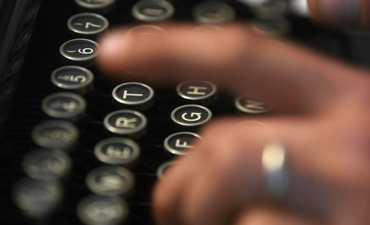 """Kirk Jackson loves old manual typewriters. """"It's almost like playing the piano,"""" Jackson said in Nashville, Tenn. Tuesday, Sept. 1, 2020,"""