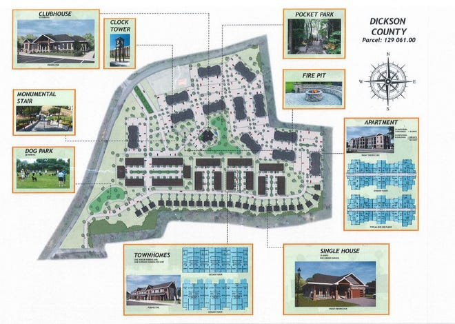 Overview of Garton Hill mixed-use development planned for Dickson near Interstate 40.