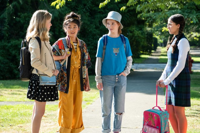 """From left, Shay Rudolph, Momona Tamada, Sophie Grace and Malia Baker star in """"The Baby-Sitters Club."""""""