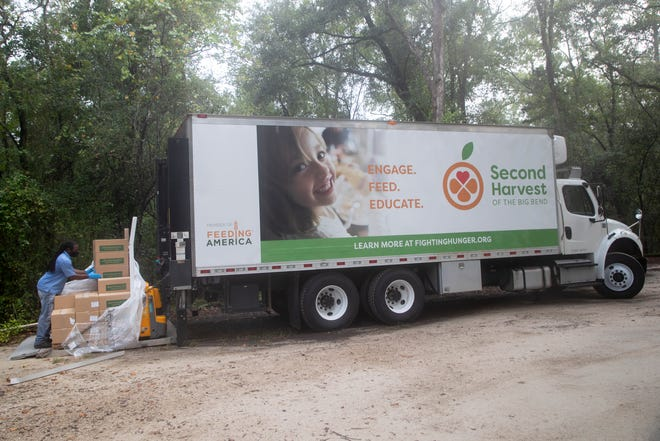 Food boxes are unloaded from the Second Harvest of the Big Bend truck to be distributed during an event hosted by the Tallahassee Museum in partnership with Second Harvest and Leon CARES Tuesday, Sept. 1, 2020.