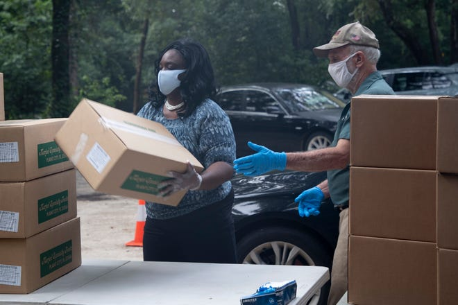 Food for 300 families was distributed during an event hosted by the Tallahassee Museum in partnership with Second Harvest of the Big Bend and Leon CARES Tuesday, Sept. 1, 2020.