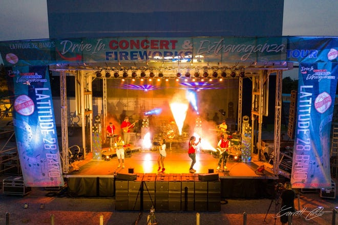 Latitude28 Band will perform a drive-in show with firewords on Sept. 5 at  the North Florida Fairgrounds,441 Paul Russell Road.