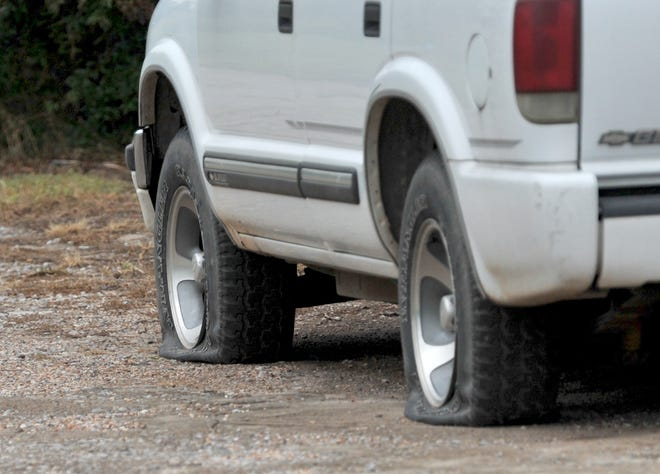 Wichita Falls police investigate the report of vehicles with their tires vandalized Monday morning.