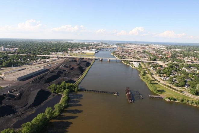 An aerial view of the Lower Fox River.