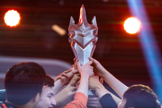 The San Francisco Shock celebrate their victory in the 2019 Overwatch League Grand Finals e-sports championship against the Vancouver Titans at Wells Fargo Center.