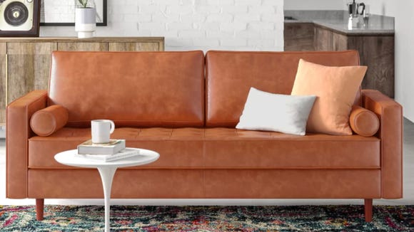 The Ainslee leather 88-inch square-arms sofa is just one of several cute options to choose from.