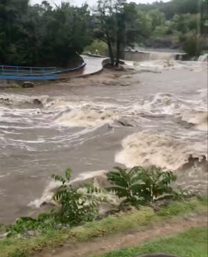 A screenshot from a video depicting the high water levels at Turner Falls Park in Davis on Tuesday. Susan Suther, the Public Information Officer for the city of Davis, said the water was four feet above normal levels.