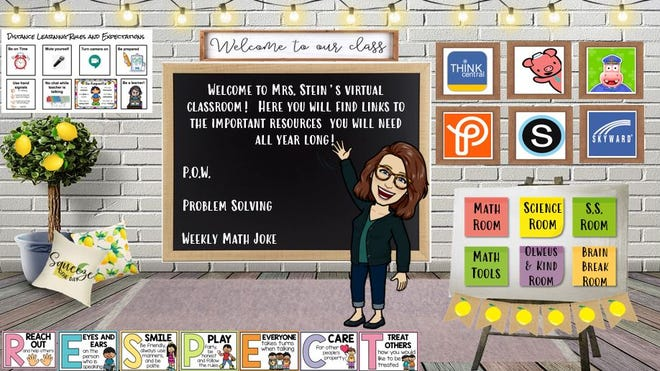 """Blackhawk teacher Heather Stein says the Bitmoji Classroom is a resource center that acts as a """"home base"""" for students with links to frequently used resource sites and tools."""