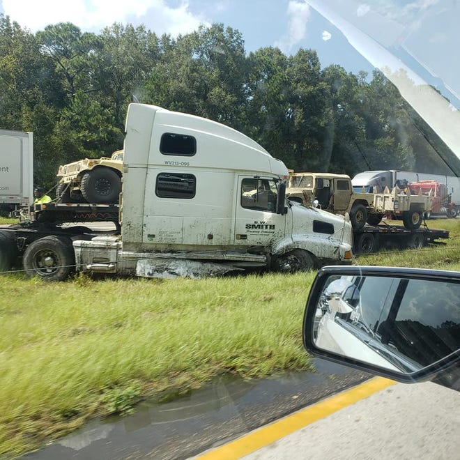 A truck accident Wednesday afternoon on Interstate 95 backed up traffic in the southbound lanes near Exit 8.