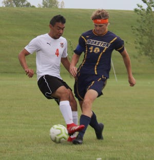 Noah Kiel in a game against Pelican Rapids on Sept. 1. Kiel scored Crookston's lone goal in the Pirates' 9-1 loss at Detroit Lakes on Tuesday.