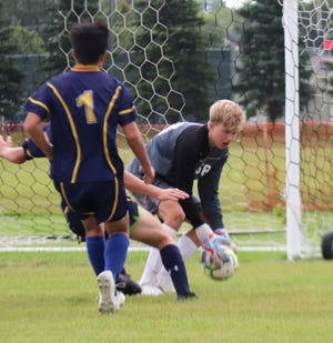 Kaleb Thingelstad in a game against Pelican Rapids on Tuesday, Sept. 1. Thingelstad had 15 saves against East Grand Forks on Thursday.