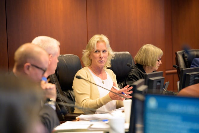 Chairman Leslie Campione discusses the green swamp project at the Lake County commissioners meeting on Tuesday, June 11, 2019. [Cindy Peterson/Correspondent]