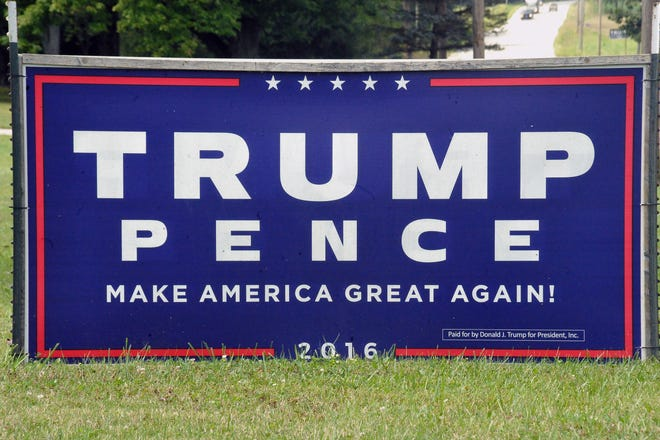 The Wayne County Sheriff has taken 17 reports of Trump signs being stolen in the county as of Sept. 8. The Wooster Police Department has taken four reports for stolen Trump signs.