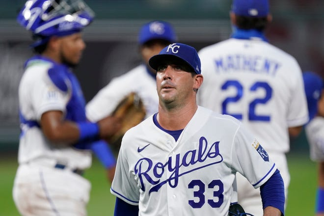 Kansas City Royals starting pitcher Matt Harvey walks to the dugout after being taken out of the game during the second inning of Tuesday's game at Kauffman Stadium. Harvey gave up five runs in 1 1/3 innings and saw his ERA balloon to 15.43 as the Indians went on to a 10-1 win.