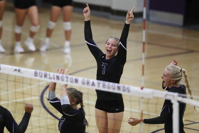 Burlington High School's Alyssa Dameron (7) celebrates a point during their match against Keokuk High School, Tuesday Sept. 1, 2020 at Burlington's Johannsen Gymnasium.