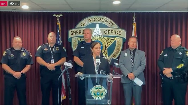 Clay County Sheriff Michelle Cook announces the arrest of a 13-year-old student after a threat was made against Lake Asbury Junior High School.