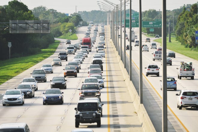 Labor Day weekend traffic on northbound I-95 South in 2017.