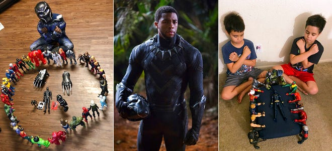 """This combination photo shows, from left, Gavyn Batiste, 7, dressed as Black Panther and surrounded by action figures in Lafayette, La. on Aug. 31, actor Chadwick Boseman in character as T'Challa in """"Black Panther"""" and 10-year old twins Lenny, left, and Bobby Homes paying tribute to Boseman at their home in in Mesa, Ariz. on Aug. 31. Boseman died of colon cancer on Friday, Aug. 28, at age 43."""