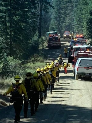 Firefighters quickly responded to a fire east of McCloud in the Shasta Trinity National Forest on Sept. 1, 2020. The fire was contained to a quarter acre.
