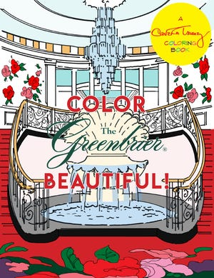 "Carleton Varney's latest coloring book is titled ""Color the Greenbrier Beautiful"" and depicts drawings of the famous West Virginia resort, where he has served as decorator for more than 50 years. [Photo courtesy Dorothy Draper & Co.]"