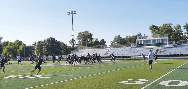 Greenback football players scrimmage against their scout team while preparing for the 2020 season. Coach Hoelting looks to senior leaders to be playmakers on Friday nights for Pratt.