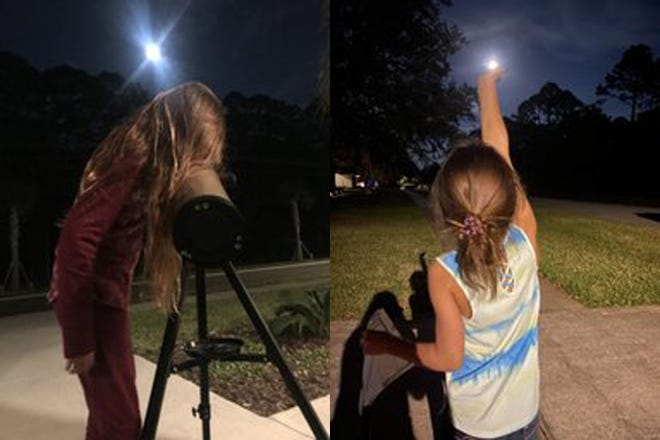 Two of Mrs. Renée Deyo's third-graders from W.D. Hartley Elementary School enjoy the Supermoon Pink Moon on April 7.