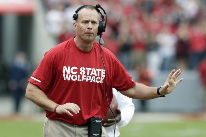 N.C. State football coach Dave Doeren said staff has had to train players at multiple positions as a precaution during the COVID-19 pandemic. (Photo courtesy of N.C. State Athletics)