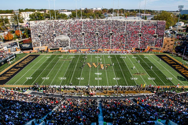 Fans fill the seats at Truist Field for a 2019 game between Wake Forest and North Carolina State.