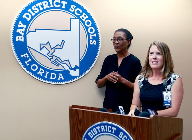 School health nurse Lyndsey Jackson, shown at the podium in the Bay District School Board offices on Aug.  6, will participate in school health phone calls twice a week to keep up to date Center of Disease Control (CDC) guidelines. She will serve as a main point of contact for COVID-19 issues .
