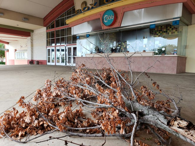 A mid-August photo at the Cobb Hollywood 16, showing debris under the marquee. Tuscaloosa's only cineplex, closed since spring due to COVID-19 restrictions, has been cleaning up to prepare for re-opening this weekend.