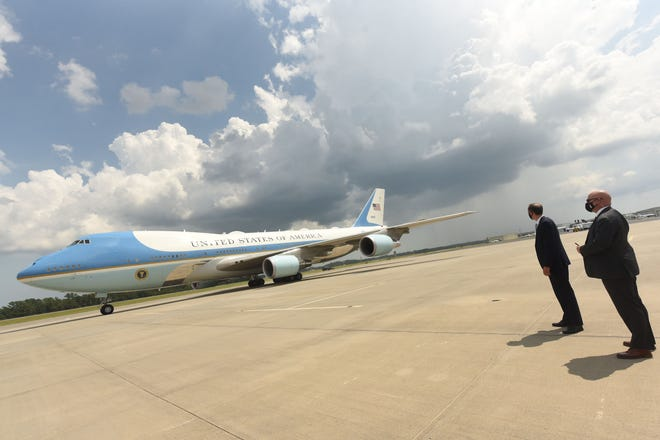 President Donald Trump arrives to a crowd of well over 1,000 supporters at the Wilmington International Airport Wednesday. Trump came to declare Wilmington the country's first World War II Heritage City.