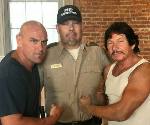 "Shane Grove (center) will appear in the movie ""Escape from Deathblock 13"" with Chris Hahn (L) and Robert Kovacs (R)."