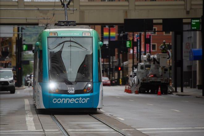The Cincinnati Bell Connector travels down Walnut Street in downtown Cincinnati on Wednesday, Sept. 2, 2020.