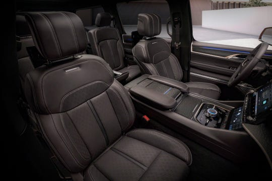 Grand Wagoneer Concept features synthetic, sustainable upholstery.