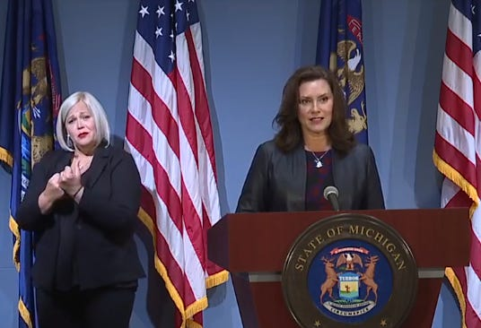 Gov. Gretchen Whitmer appears at a news briefing on Sept. 2, 2020.