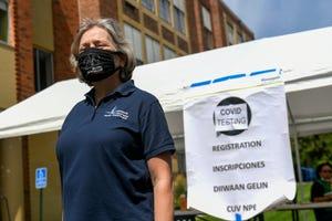 Minneapolis Health Commissioner Gretchen Musicant at a COVID-19 testing event at Incarnation-Sagrado Corazon Church on Aug. 15 in Minneapolis.