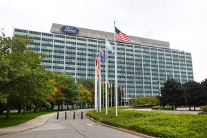 Ford Motor Company Henry Ford II World Headquarters in Dearborn, Michigan, on September 2, 2020.