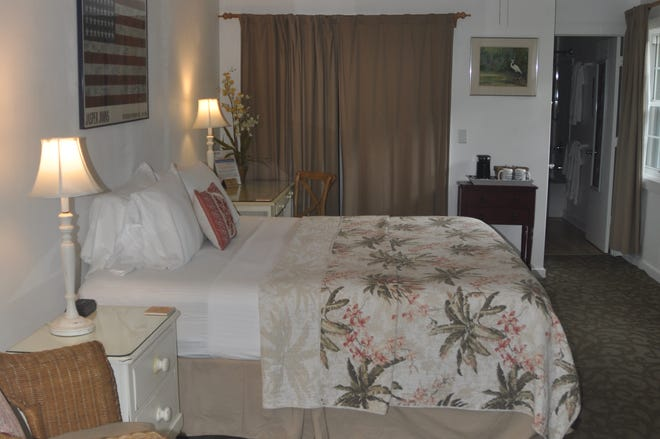 One of two suites at Jensen's on the Gulf that was created in the old historic post office on Captiva Island.