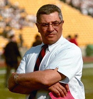 Green Bay Packers coach Vince Lombardi is shown during Super Bowl I on Jan. 15, 1967, at Los Angeles California's Memorial Coliseum.