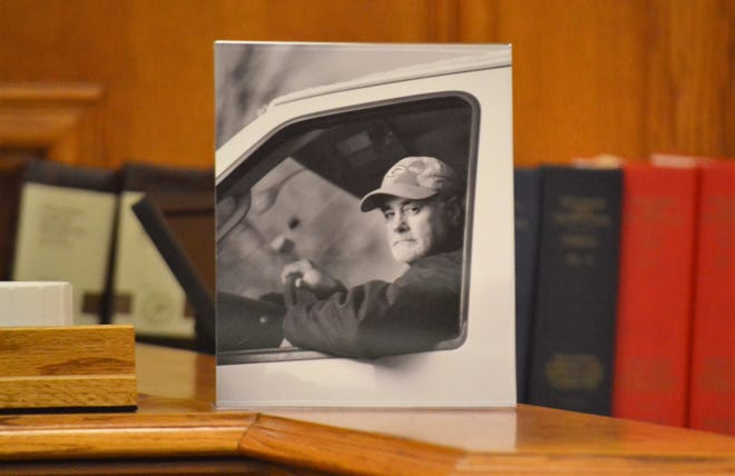 A photo of Mark Roovers of Appleton, who died in a June 30, 2019 crash in Oconto County, is seen in the Oconto County Circuit Court room where Michael A. Musial of Phelps was sentenced Wednesday for homicide by vehicle after using a controlled substance.