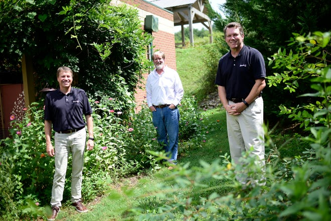 From left, Dan Hurst, Darrell Daugherty and John Patterson pose for a portrait at their company, Strata-G, the largest veteran-owned business in East Tennessee, on Aug. 2, 2020. Hurst has sold the company to employees Patterson and Elliott Barnett.
