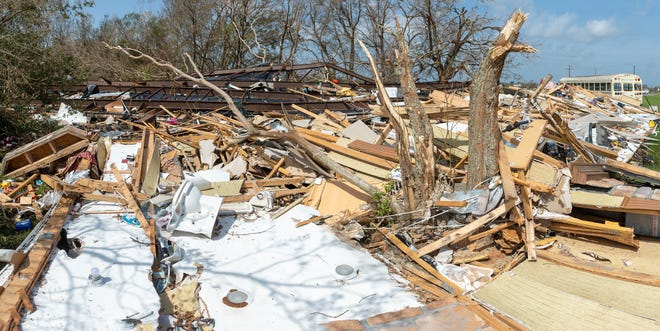 The home of Judy Atwell is completely destroyed by Hurricane Laura in Hackberry  Louisiana. Wednesday, Sept. 2, 2020.