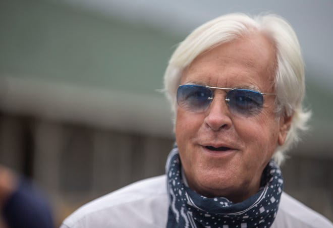 Trainer Bob Baffert gives an interview on the backside of Churchill Downs. Baffert has entered Authentic in the Derby and Gamine in the Kentucky Oaks. Sept. 2, 2020