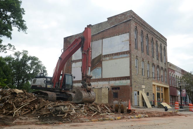 The former Plymouth Hotel was demolished this week, days after a front portion collapsed.