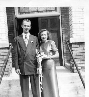 Norman and Mary Ellen Withrow on their wedding day in 1948.